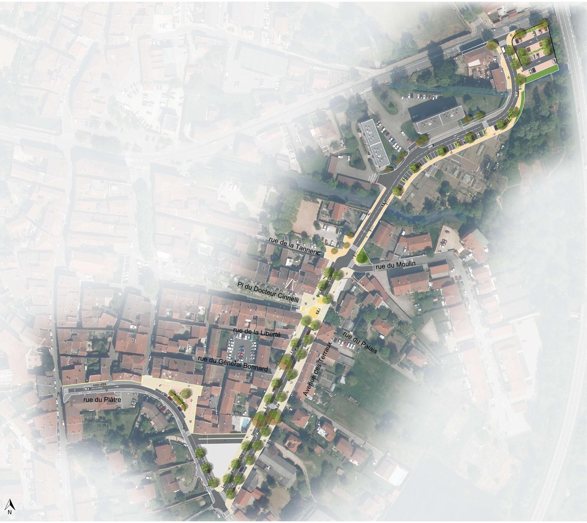 Projets d'aménagement de l'avenue des Terreaux à Saint-Symphorien-d'Ozon
